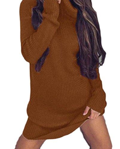 Femmes Confortables Manches Longues Sexy Robes De Soirée De Fête Pull Col Haut 1