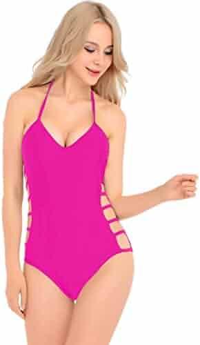 14baf37ef34 V28 Womens One Piece Sexy Twisted, Plunge Neck, Strappy Swimsuit Swimwear  Monokini (Large