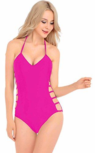 Womens One Piece Sexy Twisted, Plunge Neck, Strappy Swimsuit Swimwear Monokini (X Large, Strappy HotPink)