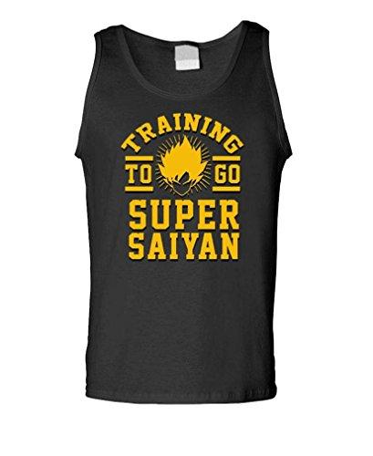 TRAINING TO GO SUPER SAIYAN funny anime - Mens Tank Top, L, Black (Training Shirt)