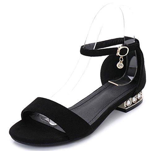 Sommerfrauen Sandalen Wort grobe Schnalle mit offenen Schuhen Diamanten flachen Sandalen Schwarzes Wildleder
