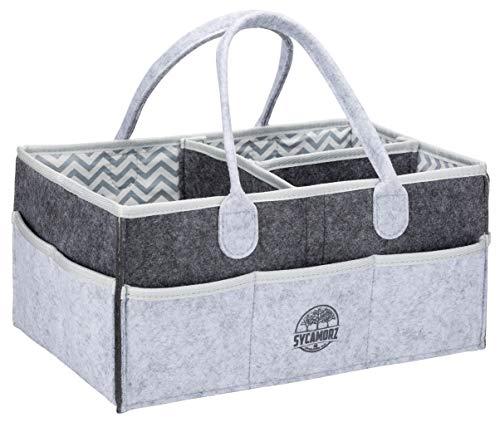 Baby Diaper Caddy Organizer   Storage Basket for Nursery Changing Table   Large Portable Car Travel Tote Carrier   Shower Gift   Newborn Registry Must Haves   Gender Neutral Felt Bag for Girls - Boys