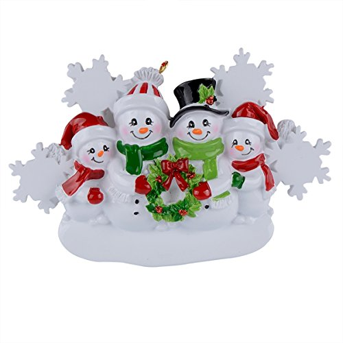 Personalized Christmas Snowman - WorldWide Snowman Family of 4 Personalized Ornament