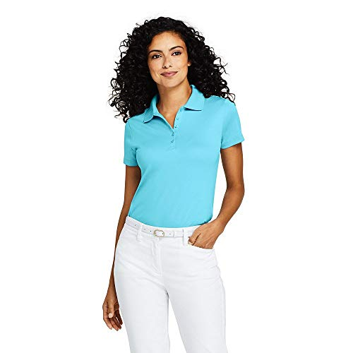 Lands' End Women's Supima Cotton Polo Shirt Short Sleeve, XL, Light Turquoise from Lands' End