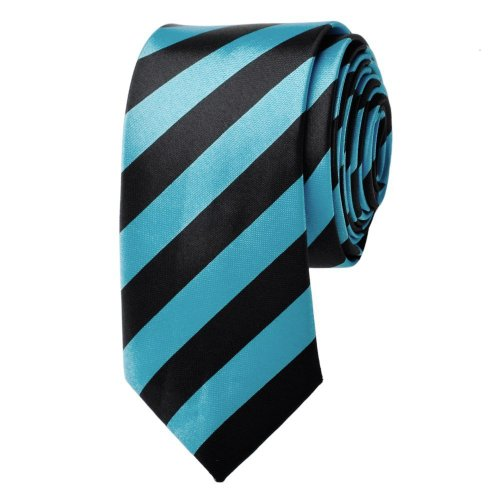 Slim Black & Blue Stripe Tie Narrow Thin Skinny Imitated Silk Necktie ()