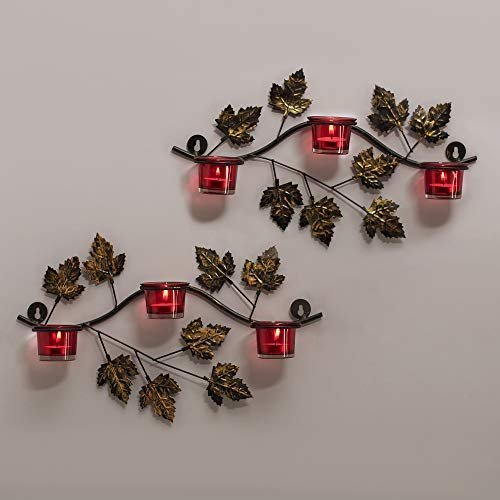 (tecmac Maple Leaf Wall Mount with 3 Votive Wall Candle Holder and Free Tealight Candles, Red)
