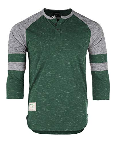 ZIMEGO Men's 3/4 Sleeve Baseball Football College Raglan Henley Athletic T Shirt Green Grey