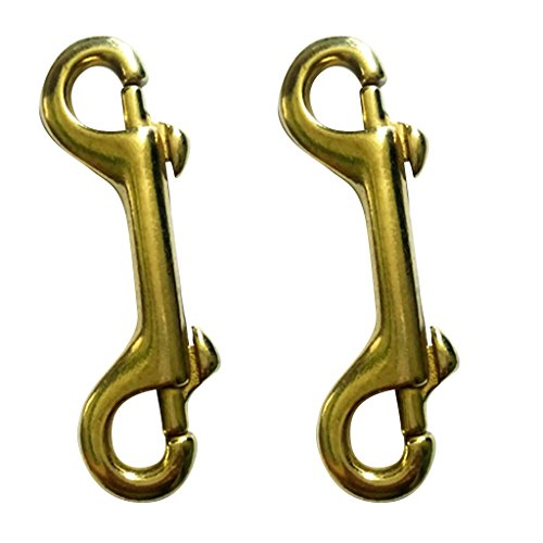 Snap Double Brass (MagiDeal 2 Pieces Double End Bolt Trigger Clip Snap Hook Key Chain Heavy Duty Brass 3-1/2