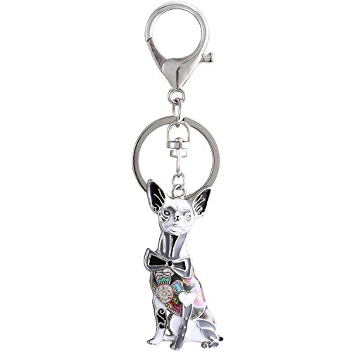 Luckeyui Black Chihuahua Keychains for Women Birthday Gift Unique Enamel Dog Lovers Keyring by Luckeyui