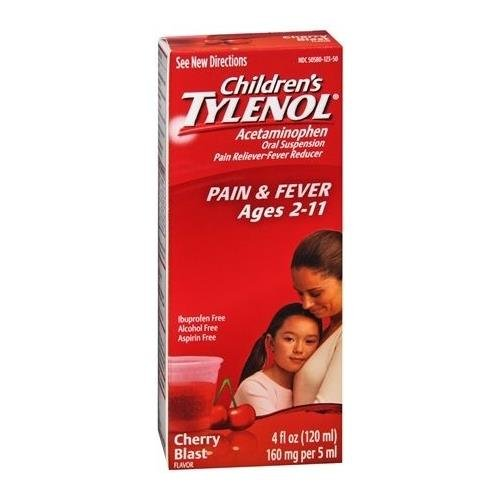 TYLENOL Children's Pain & Fever Oral Suspension Cherry Blast Flavor 4 OZ - Buy Packs and SAVE (Pack of 3) (Suspension Cherry)