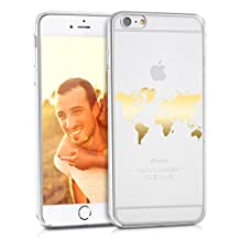 kwmobile Case for Apple iPhone 6 Plus / 6S Plus - TPU Silicone back cover case mobile phone protective case - Clear cover Design World map outline gold transparent