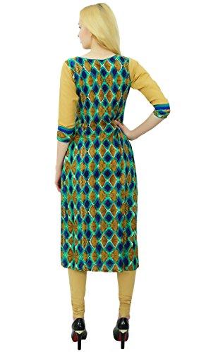 Phagun Mujeres Chevron Modelo del diseñador algodón Kurti Kurta étnico del vestido ocasional De oliva verde y azul