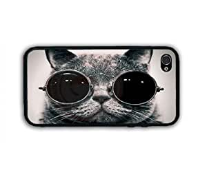 CUSTOM BLACK WHITE FUNNY SUNGLASS CAT RUBBER CASE COVER For iPhone 4 4S
