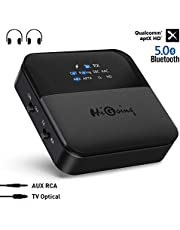 HiGoing Bluetooth 5.0 Transmitter Receiver with Indicator Display, Digital Optical TOSLINK and 3.5mm Wireless Audio Adapter, aptX HD, aptX LL, Low Latency for TV/Home/Car Stereo System