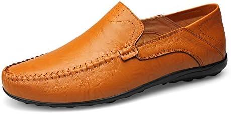 メンズファッションカジュアルメンズローファー高品質メタルデコレーションアップリケリアル本革の靴マンフラットシューズ軽量ボートモカシン(中空オプション) (Color : Hollow Yellow, サイズ : 28.5 CM)