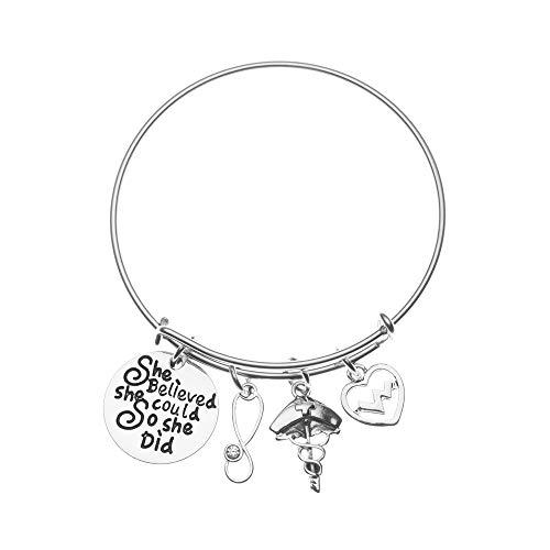 Infinity Collection Nurse Bracelet, Nurse She Believed She Could So She Did Charm Bracelet, Nurse Jewelry, Perfect Nurse Appreciation Gifts