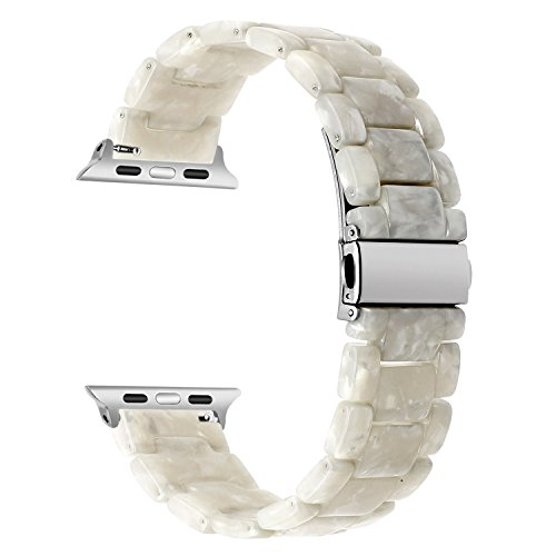 Plastic Link Band - TRUMiRR Watchband Compatible for 38mm 40mm Apple Watch Women, Fashion Resin Watchband Metal Stainless Steel Buckle Strap Bracelet for iWatch Apple Watch Series 4 3 2 1 All Models