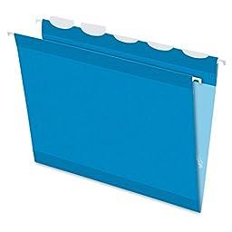 Pendaflex Ready-Tab Reinforced Hanging Folders with Lift Tab Technology, Letter Size, 5-Tab, Blue, 25 per Box (PFX42622)