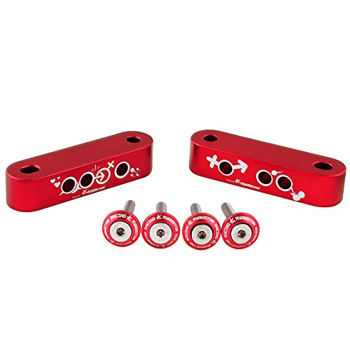 RYANSTAR Boy and Girls Love Racing Hood Vent Spacer Risers for Honda Civic 92-95 EG / 96-00 EK Red Color (Honda Hood Risers)