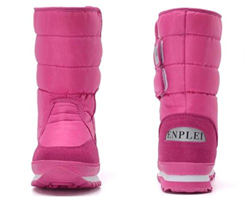 Waterproof Boots Lined Snow WUIWUIYU Rose Warm Outdoor Winter Women's Red Fur q6xwxT5g
