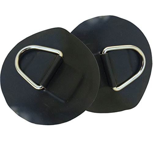 2 PCS Inflatable Boat Stainless Steel D-Ring Light Black PVC Patch fits for 12' inflatable kaboats transom kayaks