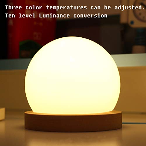 lotus.flower Creative LED Ball lamp Wooden Base USB Adjustable Brightness Color Room Decorate (Yellow) by Lotus.flower (Image #2)