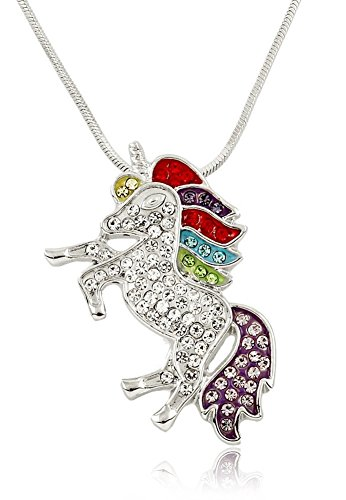 Magical Silver Tone Unicorn Red, Blue, Purple, Green Rainbow Crystals Fashion Necklace