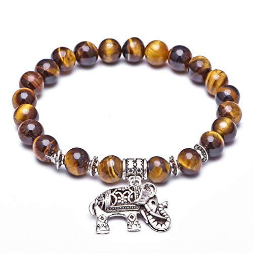 Natural Tiger Eye Crystal Bracelet with Thai Elephant Adornment, Blessed by Thai Eminent Monk- Brings Luck and Prosperity (8MM)