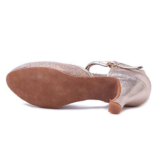 Sala para Zapatos Dance de HROYL Baile Zapatos Cuero Latinos de 7CM F15 Zapatillas EC5 Ballroom Mujeres Gold x0BPPXnWv