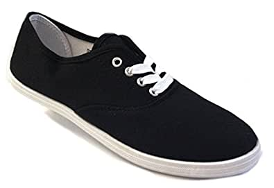 Shoes 18 Womens Canvas Shoes Lace up Sneakers 324 Black/White 5