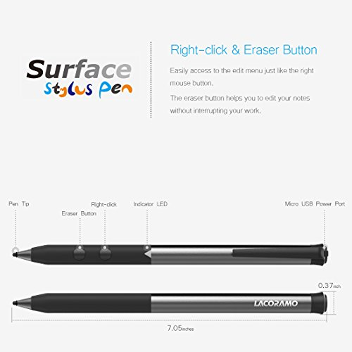 Microsoft Rechargeable Surface Pen, LACORAMO Surface Stylus Pen, 500hrs Working&180days Stand-by, with 4096 Pressure Sensitivity Compatible for Touch Screens Surface Pro 3/4/Pro2017/Laptop/Book/Studio by LACORAMO (Image #3)