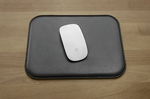 Leather Mouse Pad - Desktop Accessories - Made in Italy (Black) ()
