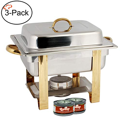 (TigerChef TC-20550 Half Size Chafing Dish Buffet Warmer Set, Gold Accented, Includes 6 Free Chafing Fuel Gels, Stainless Steel, 4 Quart)