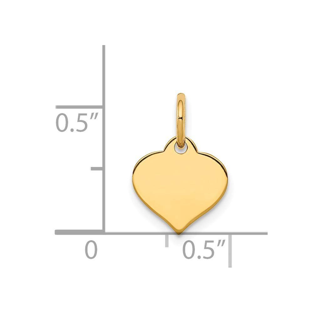 Solid 14k Yellow Gold Love Heart Disc Charm Pendant 14mm x 4mm