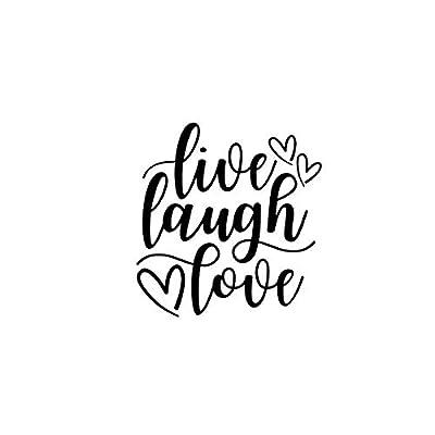 Live Laugh Love Hearts NOK Decal Vinyl Sticker |Cars Trucks Vans Walls Laptop|Black|5.5 x 5.0 in|NOK684: Kitchen & Dining
