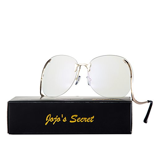JOJO'S SECRET Oversized Rimless Sunglasses, Retro Upside Down Frame Clear Lens Glasses JS006 (Clear Lens, - Style Kim Sunglasses K