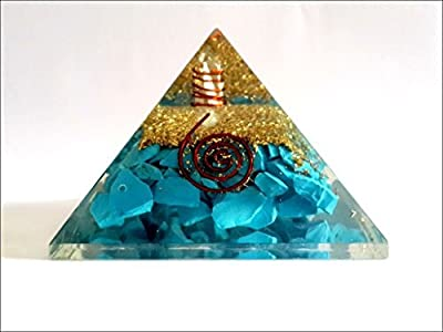 Exquisite A++ Turquoise Orgone Pyramid Crystal Gemstones Chakra Copper Metal