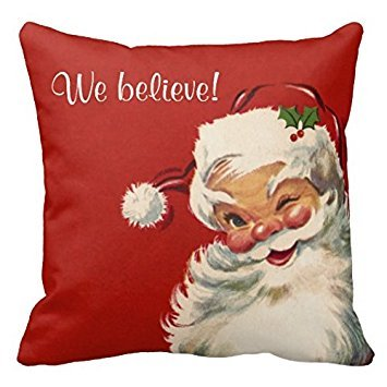 We Believe Jolly Vintage Santa Claus Pillow Case Cushion Cover