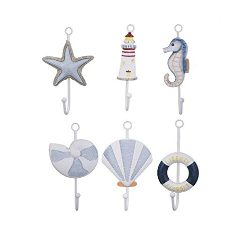 Nautical Collection Starfish Seanail Lighthouse Life Buoy Sea Shell Sea Horse Wall Door Clothes Hat Bag Hanger Hook Holder by Ximkee