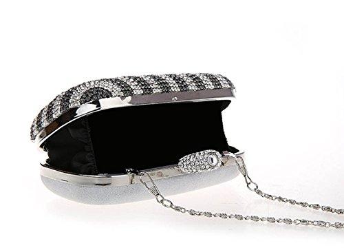 Luxe Soiree Argent de Mariage Sac Femme Pochette Diamant Argent à de Cristal Chaîne Sac KAXIDY Soirée Bandoulière Main Mode Hwdq1f1
