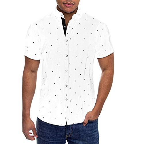 (Mens Slim Fit Short Sleeve Button Down Polo Oxford Shirt MST46568 LTSB White S)
