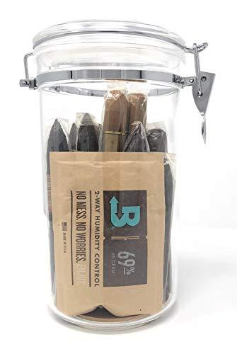 (Acrylic Cigar Humidor Jar with Boveda 69% 2-Way Humidity System, 25 Cigar Capacity )
