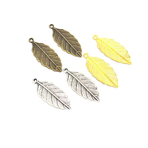 Findings Jewelry Pendent - 90pcs Mixed Antique Silver Alloy Leaf Charms Pendents Jewelry Findings for Making Bracelet and Necklace (90pcs)