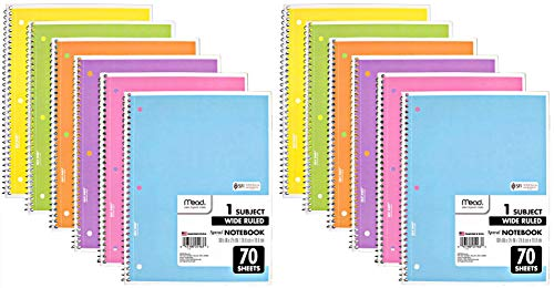 Mead Spiral Notebook, 12 Pack of 1-Subject Wide Ruled Spiral Bound Notebooks, Assorted Pastel Colors