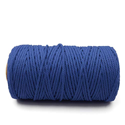 3MM Navy Blue Macrame Cord Craft Cotton String, 100M Durable Bakers Twine for DIY Crafts and Handmade Arts