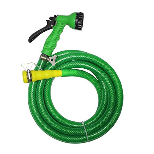 TechnoCrafts PVC Braided Hose for Floor Care 30 Meter (100 feet) 3/4″ (0.75 Inch or 19mm) Bore Size – 3 Layered Hose Pipe with 7 Function Spray Gun, 1/2″ Tap Connector & 2 Butterfly Clamps