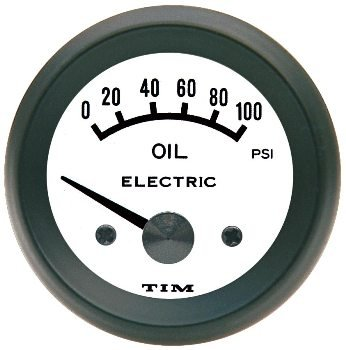 TIM 12v Electric Oil Pressure Gauge 52mm with White Dial