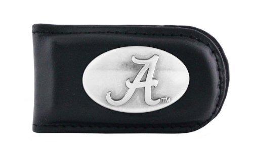 Alabama Money Clip - NCAA Alabama Crimson Tide Black Leather Magnet Concho Money Clip, One Size
