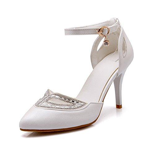 1to9 Kvinners Glass Diamond Romansk Stil Mykt Materiale Pumper-sko Hvit