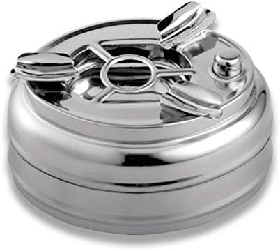 ステンレススチール製の灰皿防風カバー自動スイッチボタンの車の灰皿 (Color : Silver)